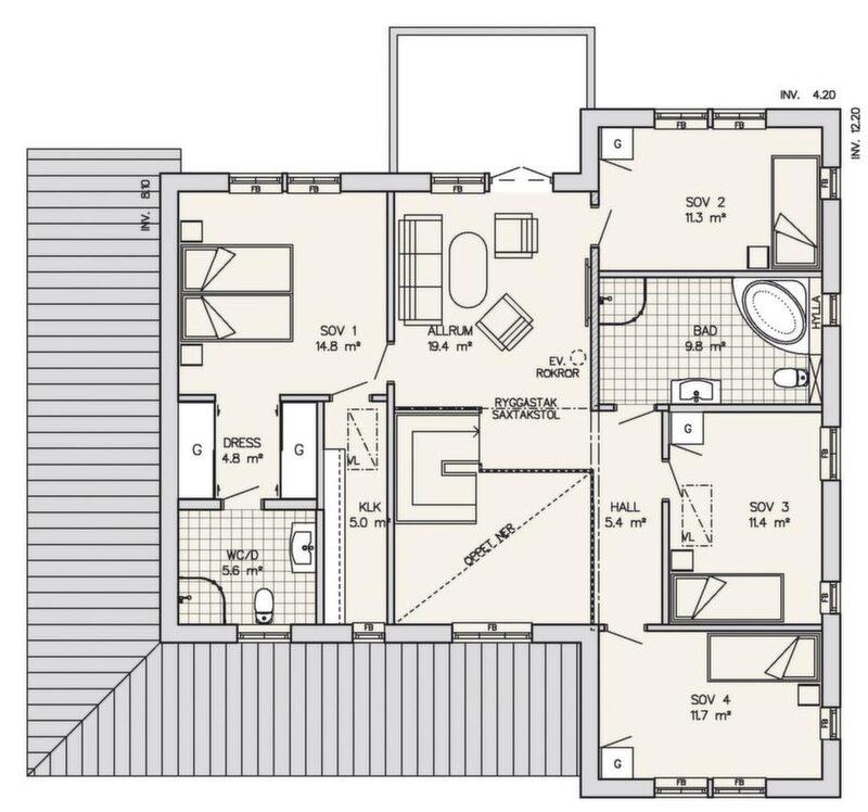 På övre planet har föräldrarna en egen avdelning med eget badrum och två klädkammare. Barnen har tre sovrum och ett stort badrum. Allrummet där uppe har en balkong, som samtidigt skapar en takskyddad uteplats vid vardagsrummet.