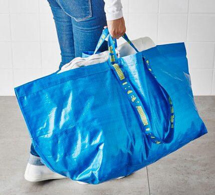 Ikea-kassen är prefekt att använd för tvätt, att packa grejer i bilen i, shoppa med eller lägga tidningsinsamlingen i.