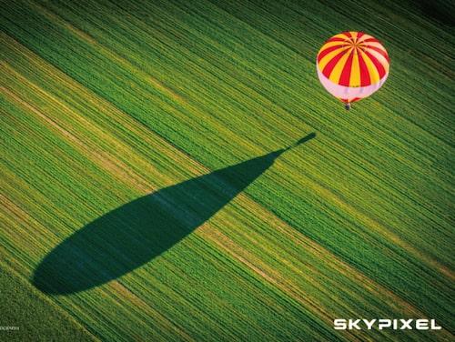 Luftballong över grönskande åker.