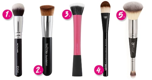 1. Zoeva 102 Silk finish brush. 2. IsaDora Perfect face brush. 3. Real Techniques Stippling brush. 4. Nyx Pro Flat foundation brush. 5. It Cosmetics #7 Heavenly luxe complexion perfection brush.