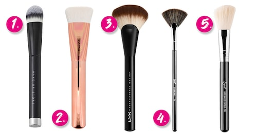 1. Make Up Store 405 Contouring brush. 2. Makeup Revolution Ultra flat contour brush. 3. NYX Pro Fan brush. 4. Sigma Beauty F42 Strobing fan brush. 5. Sigma Beauty F40 Large angled contour brush.
