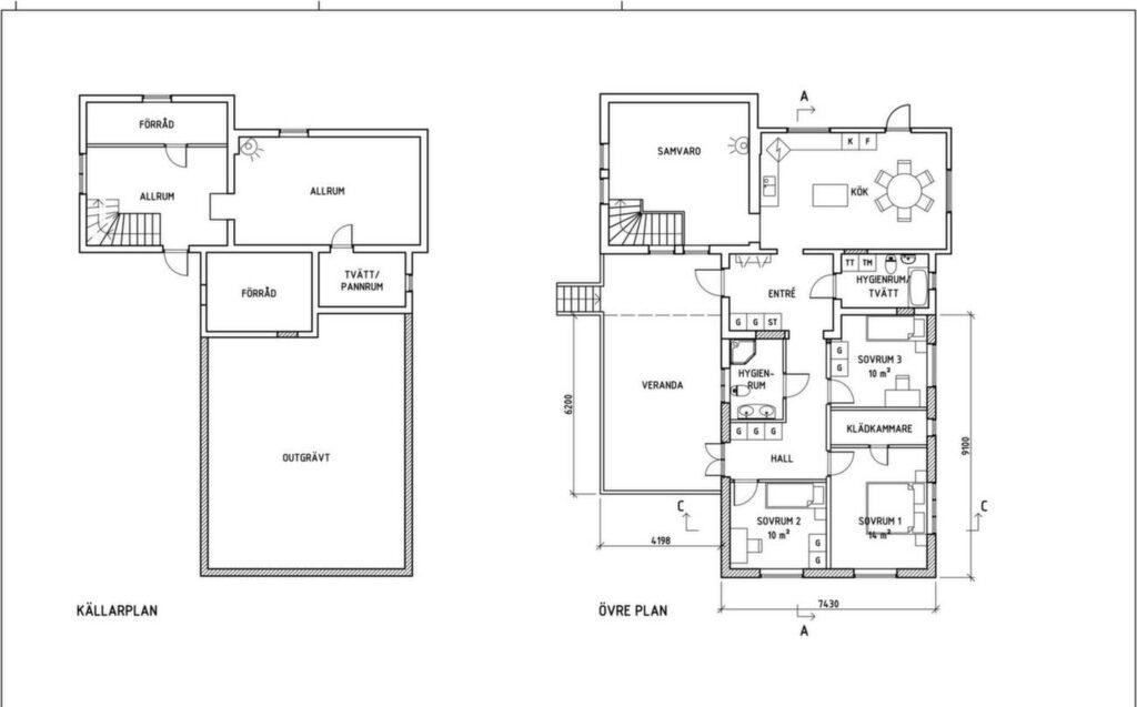 Tillbyggnaden gav tre nya sovrum, badrum, hall och kädkammare.
