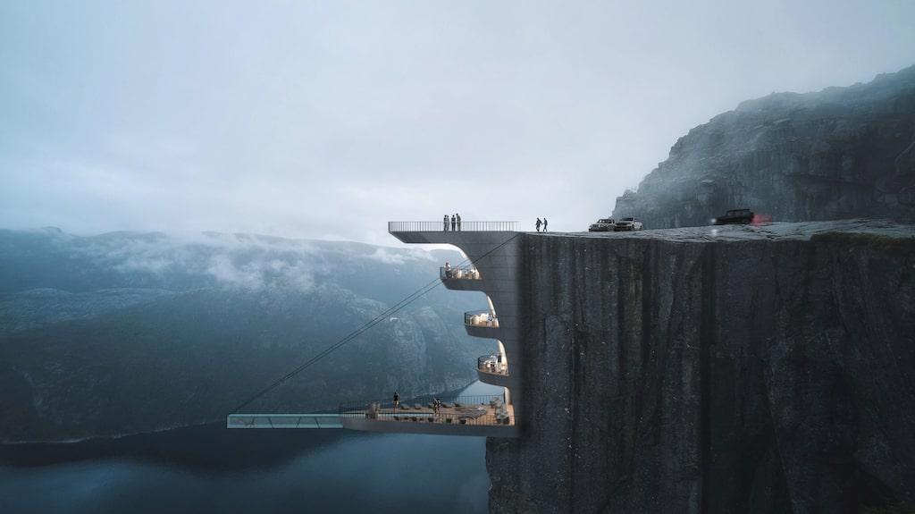 Hotellet består av ett antal avsatser som klamrar sig fast på klippan.