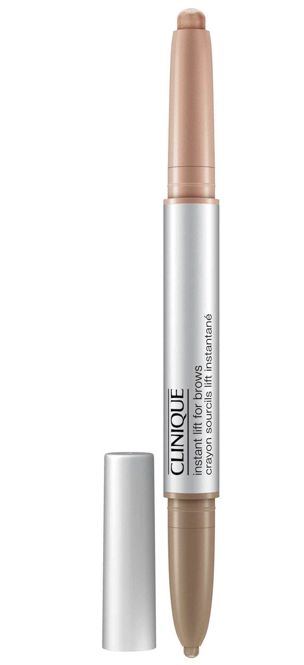 Lyfter ögat. Instant lift for brows, vattenavvisande duo-penna som definierar ögonbrynen samtidigt som highlighterfunktionen öppnar upp och ger ögat ett lyft, 185 kronor, www.clinique.se