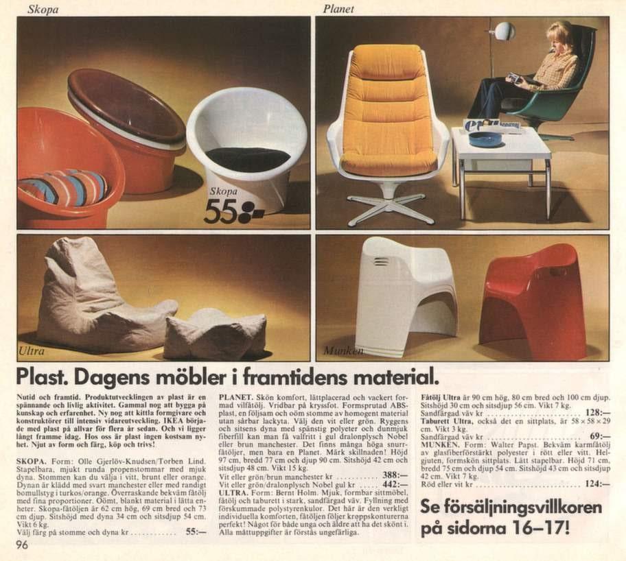 """Plast hyllades som framtidens material. Bild ur Ikeakatalogen 1974. Här syns bland annat populära """"ungdomsfåtöljen"""" Skopa."""