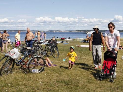 Familjevänlig strand vid Rörvik.