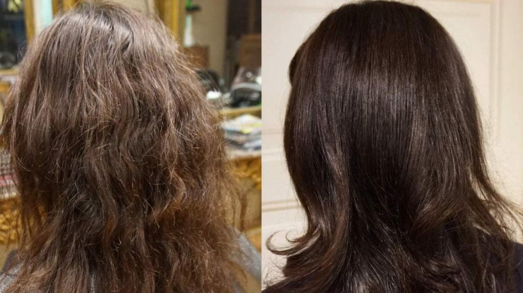 <p>Före och efter Olaplex-behandling.</p>