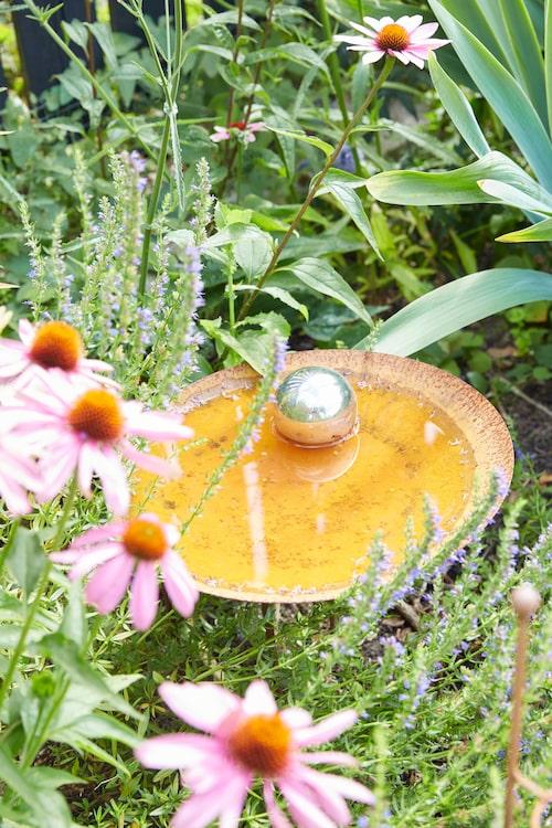 Ett vackert fågelbad är ett välkommet inslag för småfåglarna när det är ont om vatten i naturen. Det här har Hanna köpt på I&I Christina Prütz på Öland.