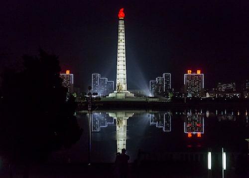The Juche tower i Nordkoreas huvudstad Pyongyang.