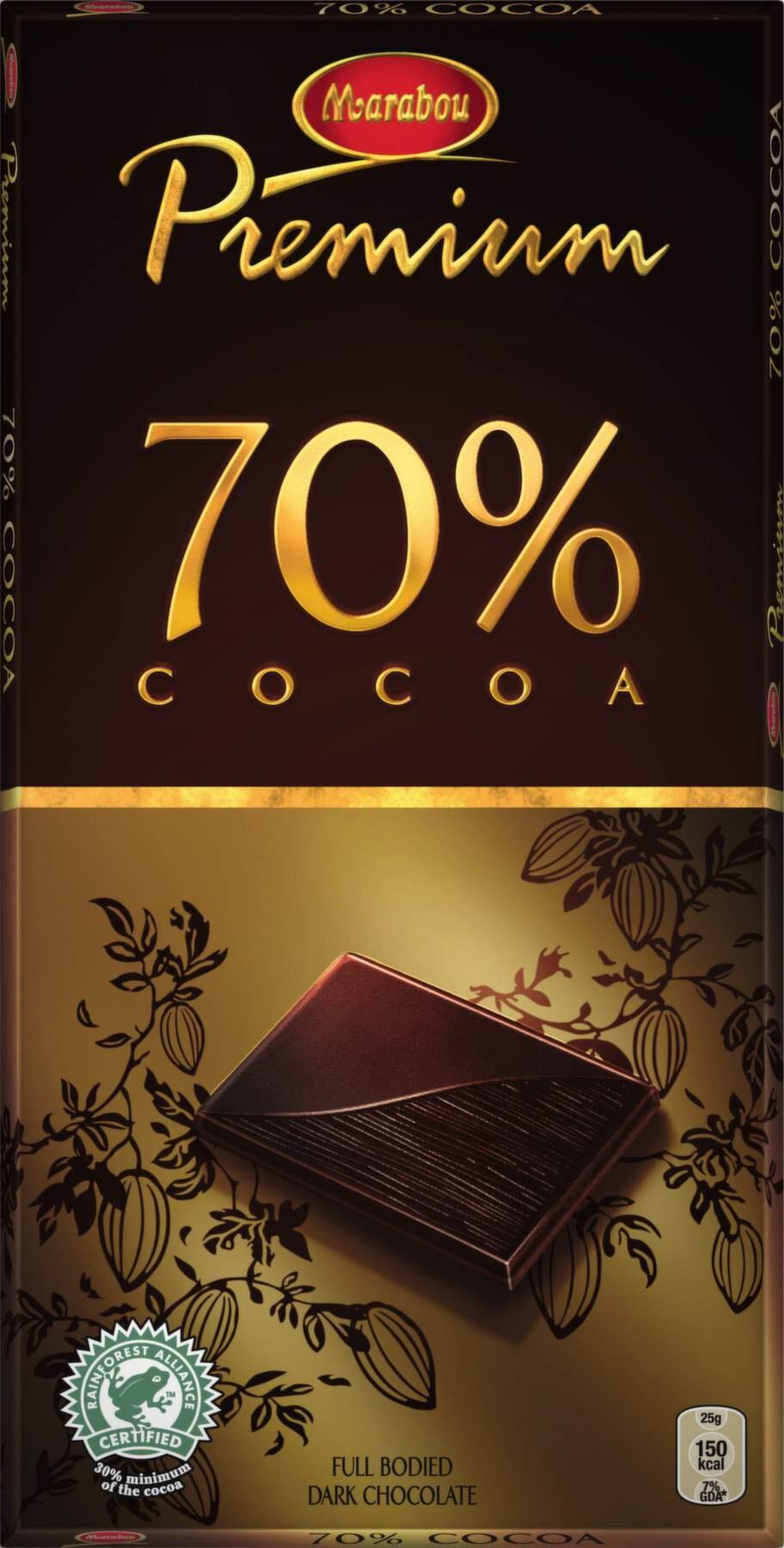 """Marabou Premium 70% <br><exp:icon type=""""wasp""""></exp:icon><exp:icon type=""""wasp""""></exp:icon><exp:icon type=""""wasp""""></exp:icon><br>Pris: Cirka 20 kronor, 100 g.<br>En lättäten choklad som smakar gott och varken är för söt eller bitter. Känns som en klassisk mörk chokladkaka. Något rökig bismak.<br>Fredrik Paulún säger: En helt okej mörk choklad med 70 procent kakao och en standardsammansättning av det mesta. Det ger ett standardbetyg på en trea.<br>Betyg: 3.<br><br>Ingredienser: Kakaomassa, socker, kakaosmör, fettreducerad kakao, smörfett, arom, emulgeringsmedel (sojalecitin).<br>Näringsvärde per 100 g:<br>Energi: 600 kcal.<br>Protein: Ej uppgift.<br>Kolhydrat: 32 g.<br>varav sockerarter: 28 g.<br>Fett: 46,5 g.<br>varav mättat fett: 29 g.<br>Fiber: 11 g.<br>Natrium: &lt;0,5 g."""