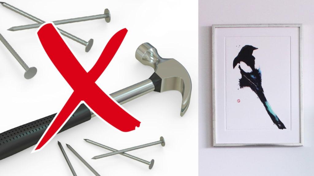 Nu behöver du inte hammare och spik för att sätta upp tavlor på väggen.