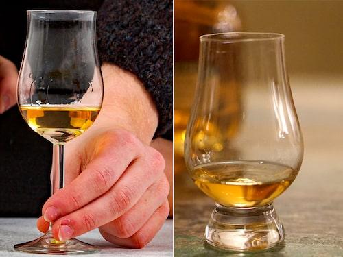 Två tulpanformade whiskyglas.