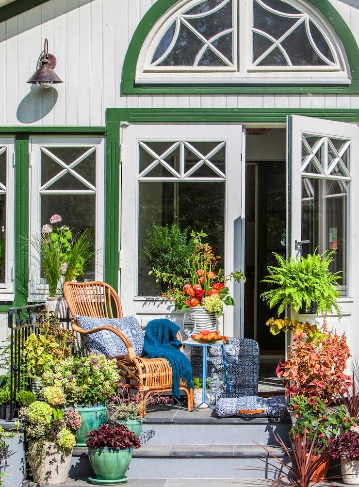 Verandadörrarna öppnar upp mot söder, och här sitter Susanne gärna en stund och kopplar av innan butiken ska öppnas för dagen. Korgstolen från Wikholm form, bord och kuddar från Affari. Den blå ponchon är från Idea Group, och de gröna krukorna och den randiga tygkrukan är från Vk Vividi.
