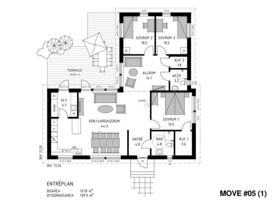 Fakta<br>Namn: Move # 05<br>Typ: 1-planshus med fem rum och kök på 121,8 kvadratmeter.<br>Pris: Cirka 1 890 000 kronor med pulpettak. 15 517 kronor kvadratmetern.Husföretag: Trivselhus trivselhus.se