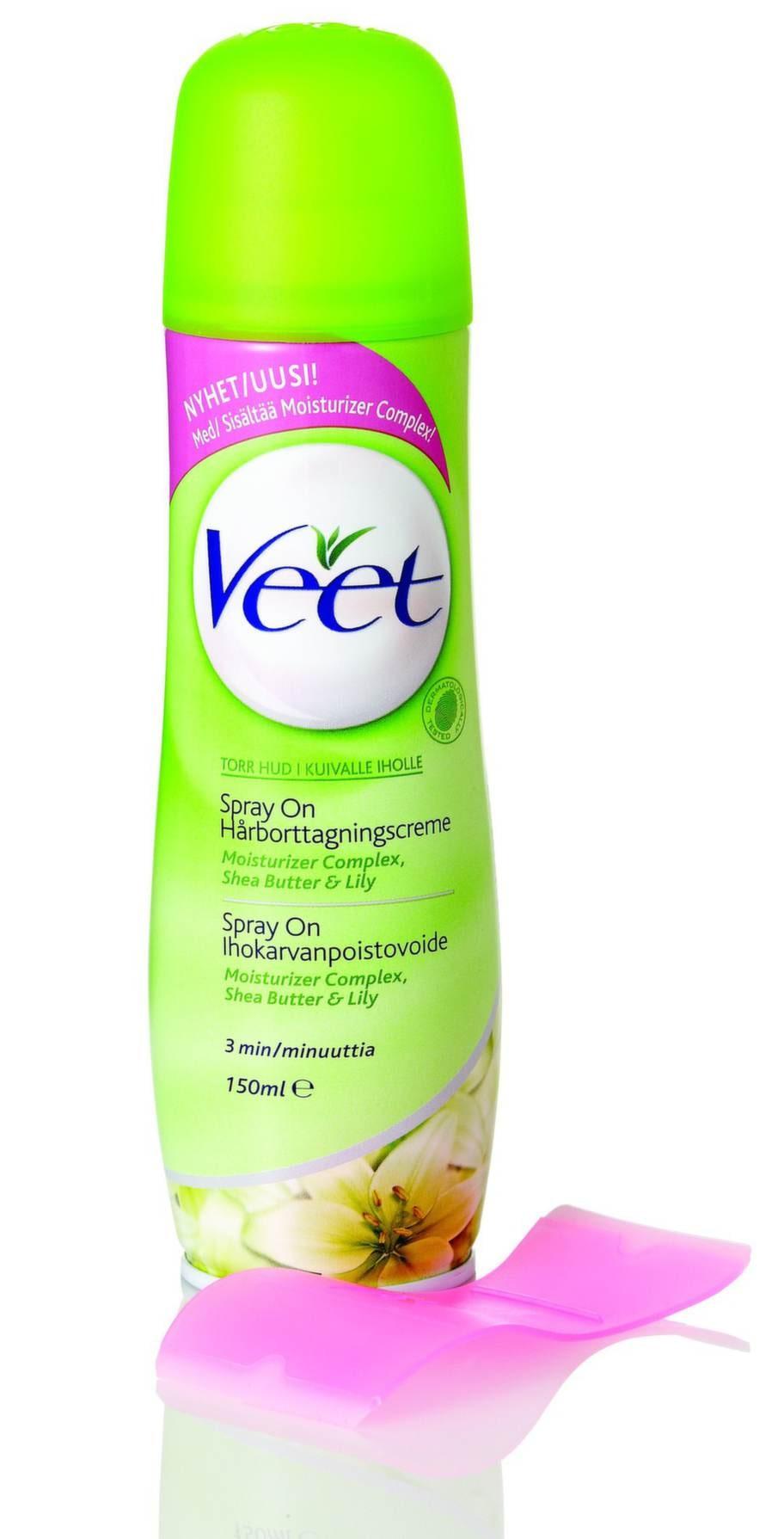 """""""Spray-on hairremoval"""" spraybar hårborttagningscreme med sheasmör från Veet, 95 kronor."""