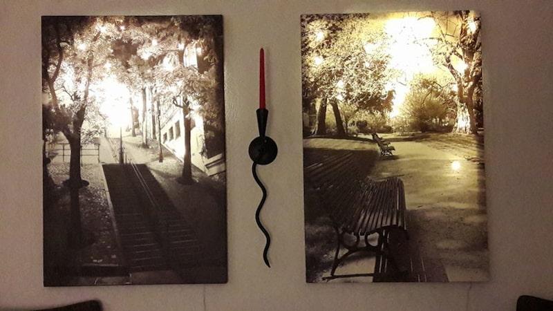 Helena Grönholm är också en som inspirerats och gjort samma. Här med två tavlor hon köpt på loppis.