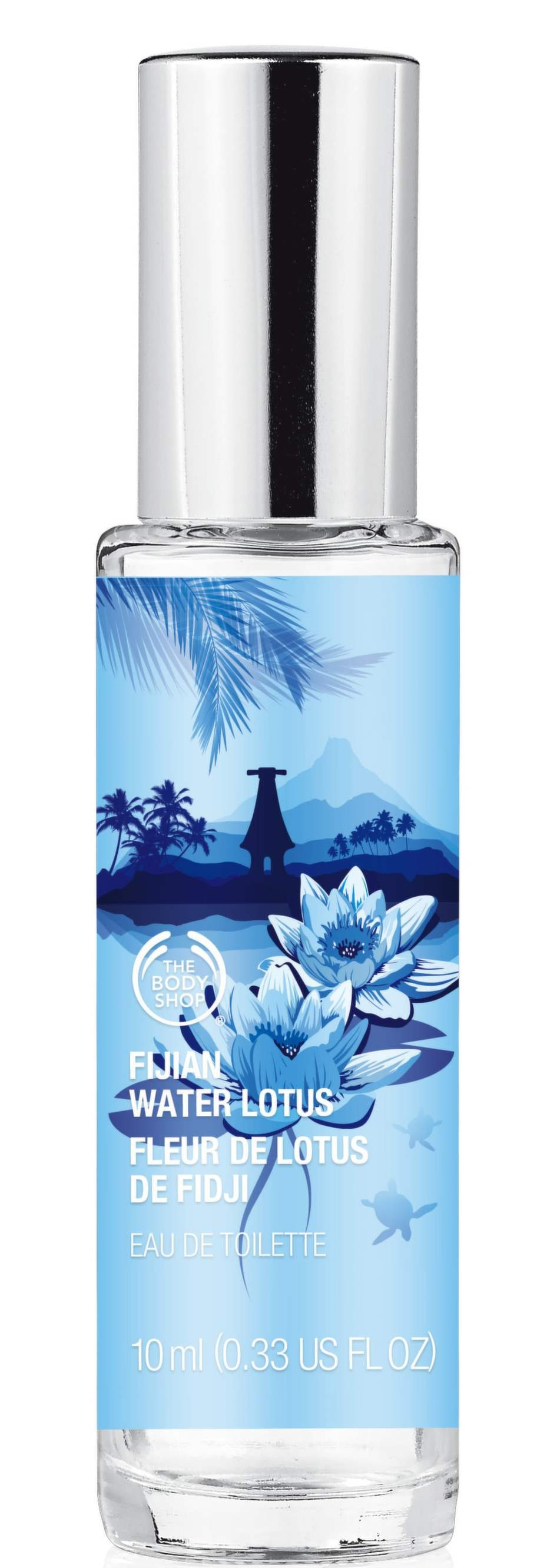 Fijan Water Lotus från The Bodyshop. Med doft av vattenlotus och mandarin. Mini Edt finns i 9 olika dofter och landar i butik 3 juli. 95 kronor/10 ml.