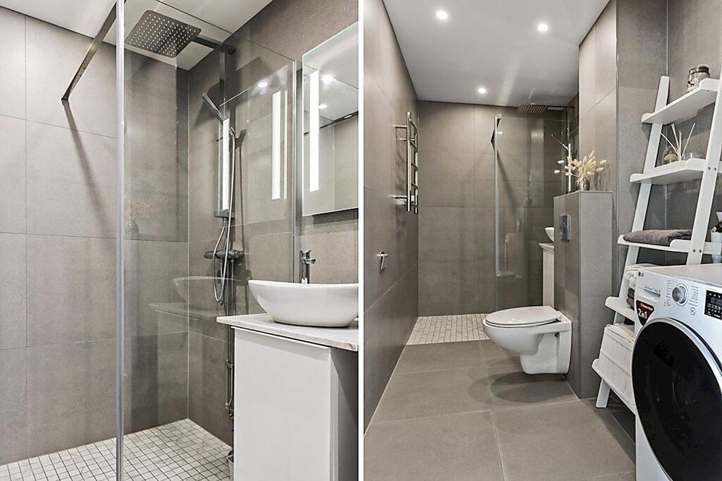 Helkaklat badrum med takdusch och tvättmaskin.
