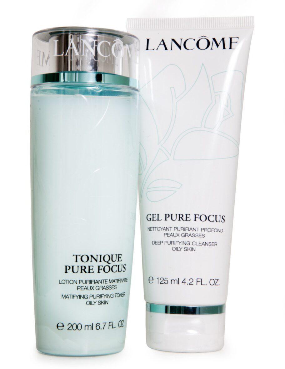 Ansiktsvatten. Hjälper till att normalisera fet hy. Pure focus pur lotion från Lancôme. 200 ml, 250 kronor.<br>Gelé. Djuprengörande gelé för fet hud. Pure focus cleansing gel från Lancôme. 125 ml, 255 kronor.