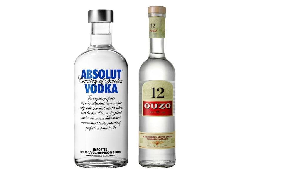 Absolut är en populär vodka, och ouzo är en variant på aniskryddad sprit.