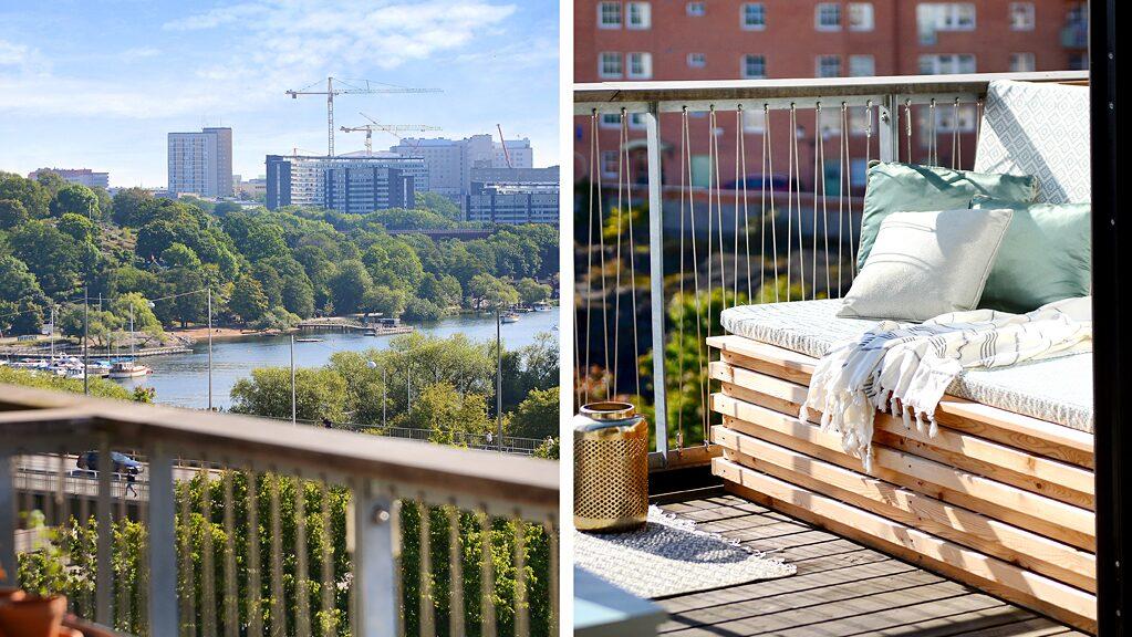 Utiskten över Mälaren når ända till Södermalm. Två terrasser och en balkong, här med platsbyggd möbel.