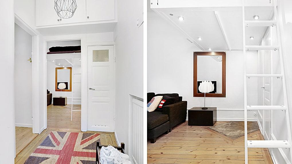 Kuddar, tavlor och mattor med flagg-motiv syntes på flera ställen i gamla lägenheten.