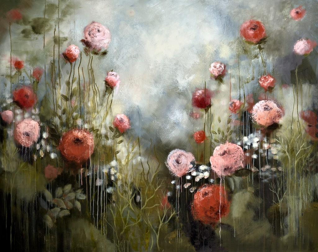 """""""Magic Rosegarden"""" av Malin Östlund är både dramatiskt och vacker med de rinnande rosorna mot den grå himlen."""