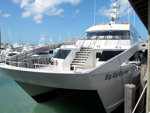 Katamaranen går ofta dubbelt eller tre gånger så fort som bilen till Key West.