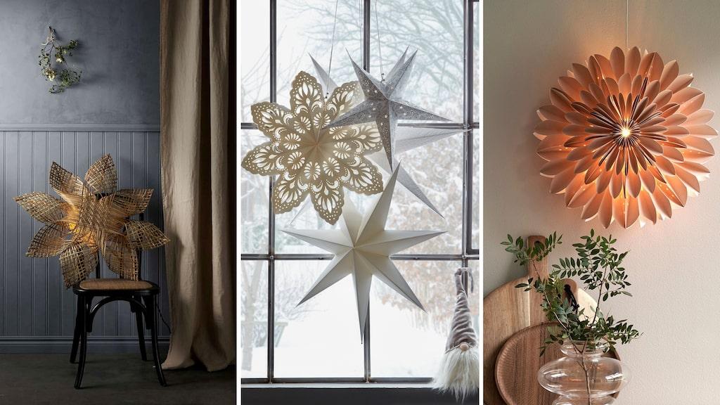 Ett helt gäng med adventsstjärnor i olika storlekar och mönster blir riktigt fint i fönstret.