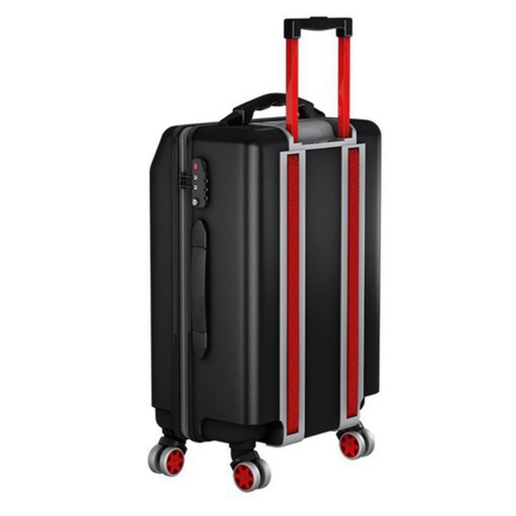 Den smarta väskan har hjul som en bandtraktor vilket gör att den går att rulla såväl uppför som nedför trappor.