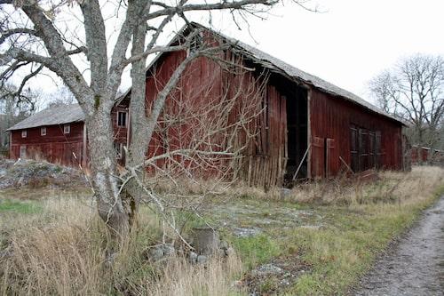 En av flera byggnader på gården som ingår i köpet.