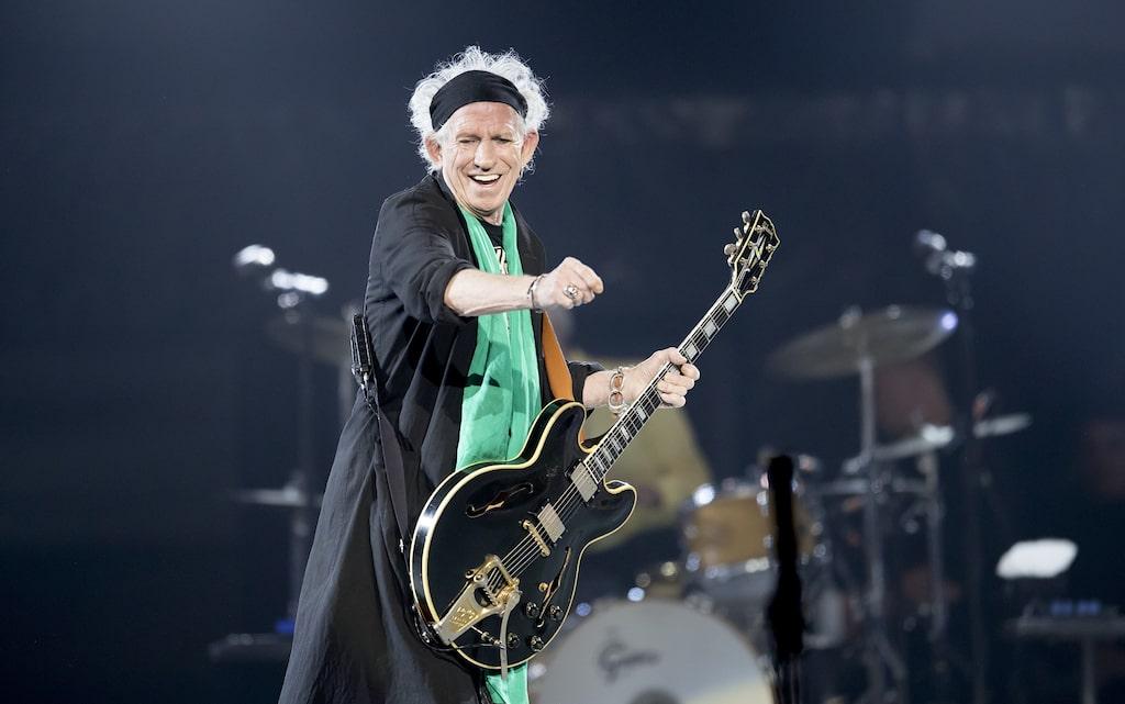 Keith Richards när han uppträdde med Rolling Stones på Friends Arena tidigare i år.