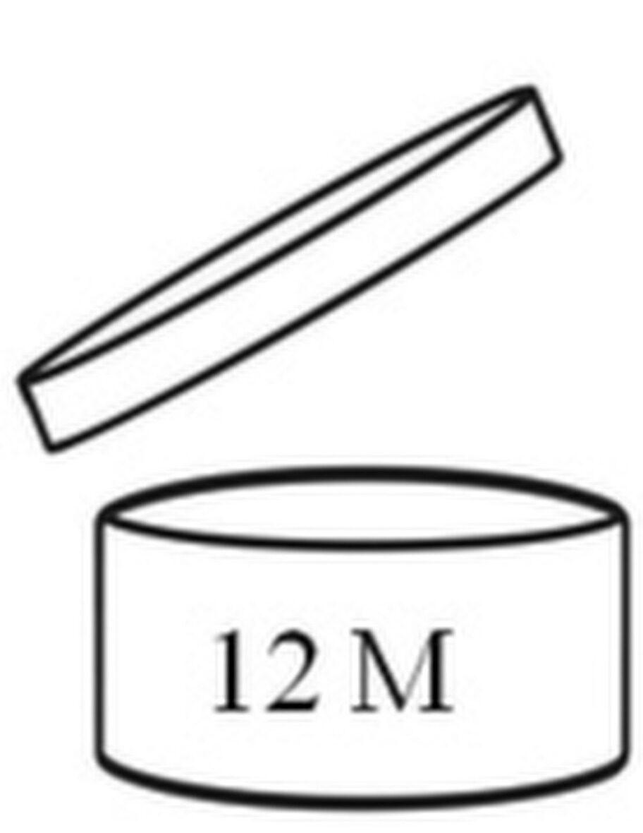 Hållbarhet.<br>Denna symbol ska finnas på krämburkarna. Den talar om hur många månader (i det här fallet 12) som du kan ha din produkt från det att du har öppnat den.