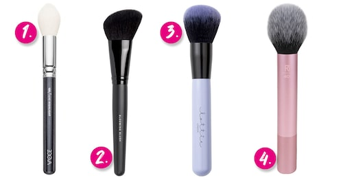 1. Zoeva 105 Luxe highlight brush. 2. Bareminerals Blooming blush brush. 3. Lottie London Make me blush brush. 4. Real Techniques Blush brush.