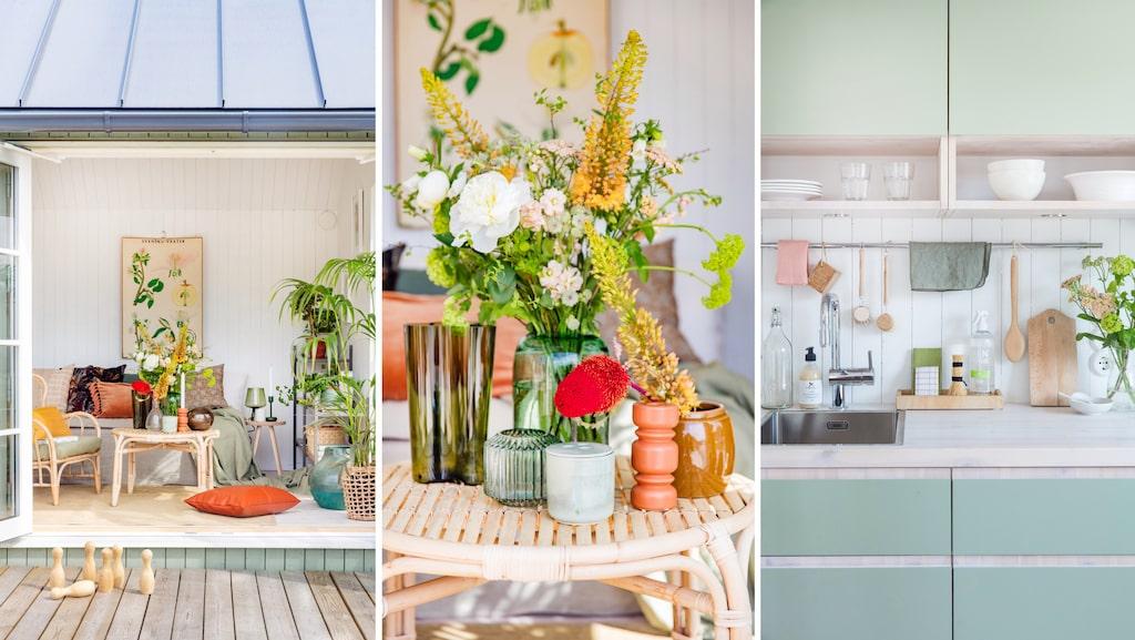 Knarrande rottingmöbler, växtplanscher och varma mustiga färger passar perfekt i sommarstugan med sin solvarma atmosfär.