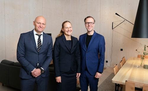 Peder Grunditz, flygplatsdirektör Arlanda, Susanne Strand, chef vip-service och Mark Humphreys, Tengbom arkitekter.