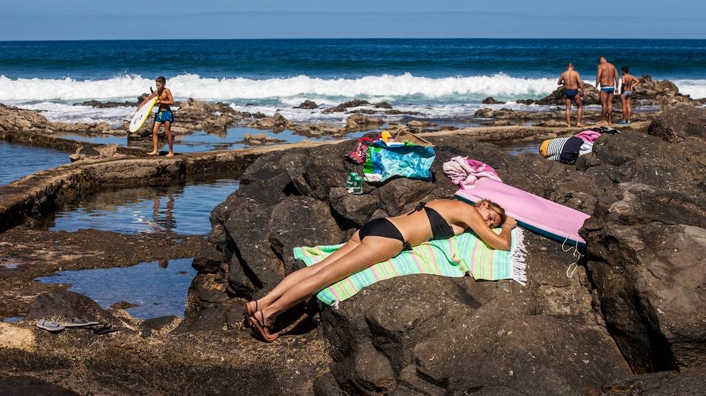 Lavabassängerna i El Roque är kanske inte ultimata för solbadare.