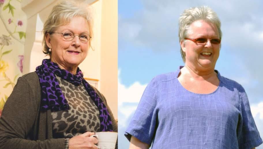 Första bilden visar hur Marie ser ut i dag. Bilden till höger hur hon brukade se ut. Marie Söhrman har gått ner 28 kilo genom att ändra sin kost och har kunnat minska antalet mediciner hon äter.